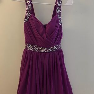 Purple formal dress with sequin embroidery
